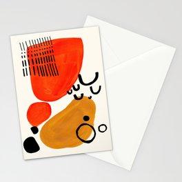 Fun Abstract Minimalist Mid Century Modern Yellow Ochre Orange Organic Shapes & Patterns Stationery Cards