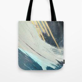 Karma: a bold abstract in blues and gold Tote Bag