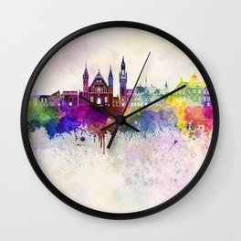 The Hague V2 skyline in watercolor background Wall Clock