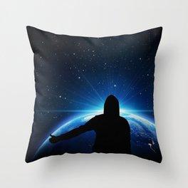 Space hitchhiking Throw Pillow