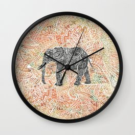 Tribal Paisley Elephant Colorful Henna Floral Pattern Wall Clock