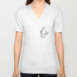 pig smile for you Unisex V-Neck
