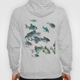 Barb Fish, green turquoise aquatic fish design aquarium Hoody