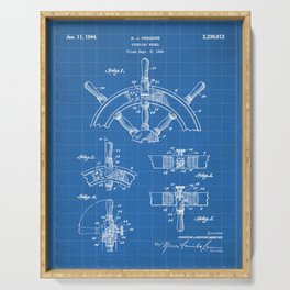 Ships Wheel Patent - Boat Wheel Art - Blueprint Serving Tray