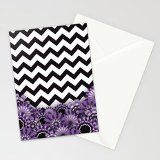 Purple Flower Chevron Stationery Cards