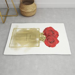 Red Roses & Fashion Perfume Bottle Rug
