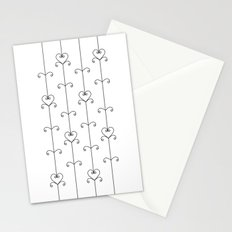 Black & White Hearts Stationery Cards
