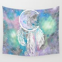 lunar Wall Tapestries featuring Lunar Galaxy by Brietron Art
