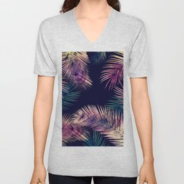 Tropical Leaves at Night Unisex V-Neck