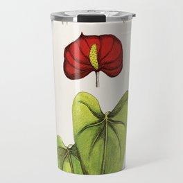 Vintage style botanical prints Anthurium Travel Mug