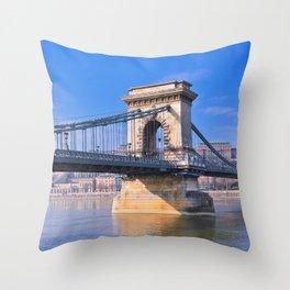 View Chain bridge over Danube river. Throw Pillow