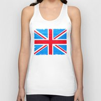 british flag Tank Tops featuring Rough And Worn British Union Jack Flag by Mark E Tisdale