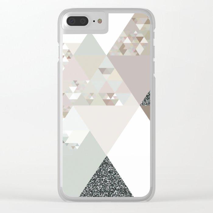 Triangles in glittering graphite quartz - Grey glitter triangle pattern Clear iPhone Case