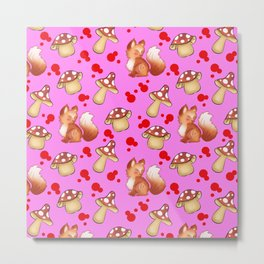 Cute foxes, wild forest mushrooms and red retro dots seamless nature girly pink pattern. Fall season Metal Print