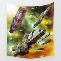 ships Wall Tapestries featuring Space Ships Fantasy by FantasyArtDesigns