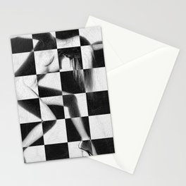 Survive Nude Woman Checkered 4 Stationery Cards
