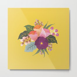 May Florals on Yellow Metal Print
