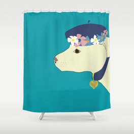 white dog with blue floral hat Shower Curtain