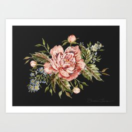 Pink Wild Rose Bouquet on Charcoal Art Print