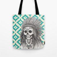 calavera Tote Bags featuring Calavera Skull by MY  HOME