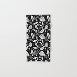 Autumn leaves pattern black Hand & Bath Towel