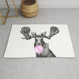 Bubble Gum Moose in Black and White Rug