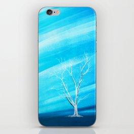 Big white leafless tree blue background iPhone Skin