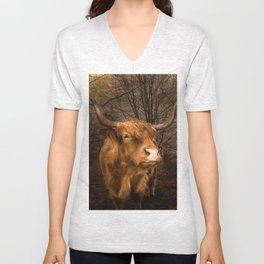 Highland Toffee Coo Unisex V-Neck