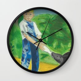 A Boy and his Pig Wall Clock