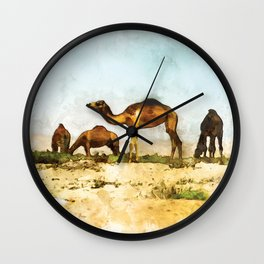 Camels in the Desert Wall Clock