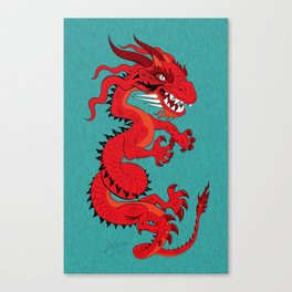 Red Dragon with Teal Canvas Print