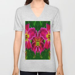 CERISE PINK LILY FLOWERS GREEN ABSTRACT Unisex V-Neck