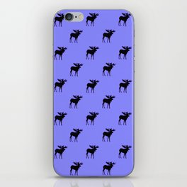 Bull Moose Silhouette on Periwinkle iPhone Skin