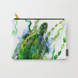 Green River Turtle Olive green Wall art Carry-All Pouch