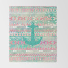 Sailing Aztec | Emerald Nautical Anchor Pastel Watercolor Aztec Throw Blanket