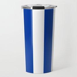 Dark Princess Blue and White Wide Vertical Cabana Tent Stripe Travel Mug