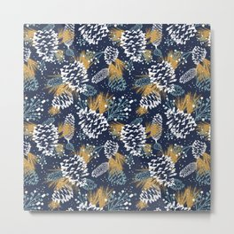 Festive Forest - Navy Metal Print
