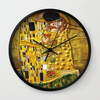 gustav klimt Wall Clocks featuring My Klimt by Müge Başak