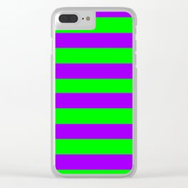 Green and Purple Stripes Clear iPhone Case