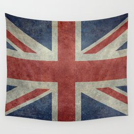 UK Flag, Dark grunge 1:2 scale Wall Tapestry