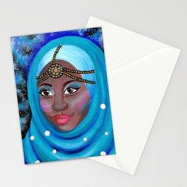 EID - Muslim Girl with Hijab - Acrylic Painting Stationery Cards