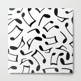 Music Note Pattern White and Black Metal Print