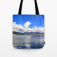 vancouver Tote Bags featuring North Vancouver by Chris Root