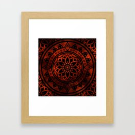Burnt Orange & Black Patterned Flower Mandala Framed Art Print