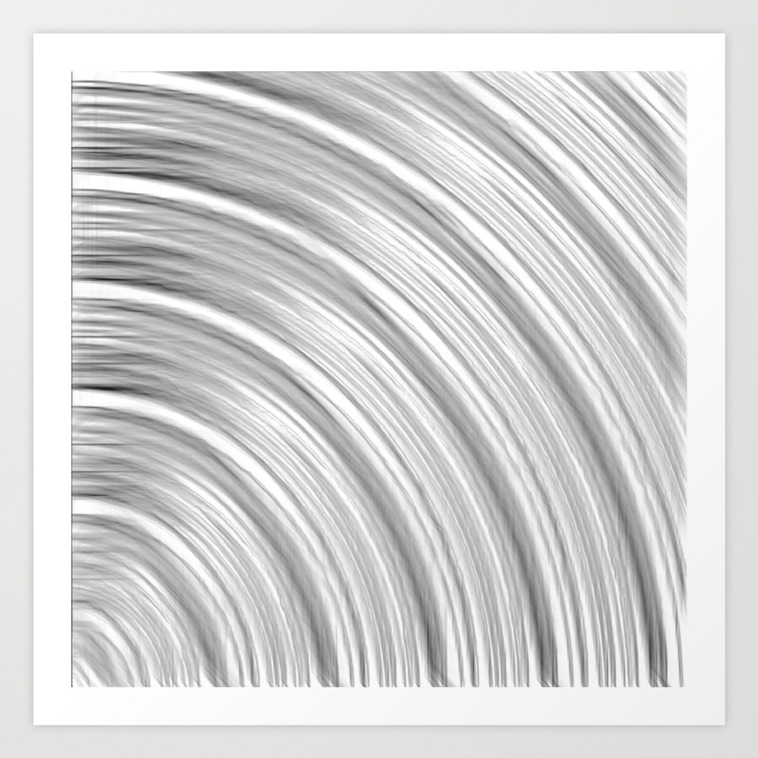 Pencil drawing line pattern abstract in black and white art print