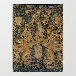 Vintage Golden Deer and Royal Crest Design (1501) Poster