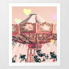 wing Carousel and heart bokeh on pale pink Art Print