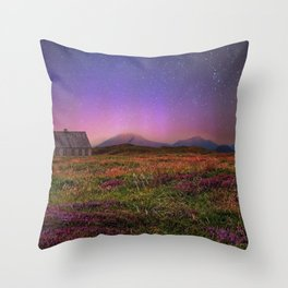 Sunset with Starry Sky Fantasy Landscape Throw Pillow