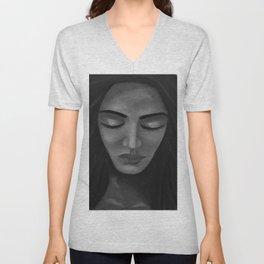 On My Mind by Lu, black-and-white Unisex V-Neck