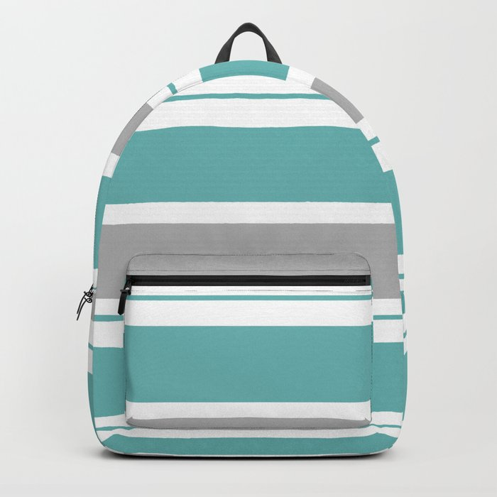 Gray And Blue Striped Backpack